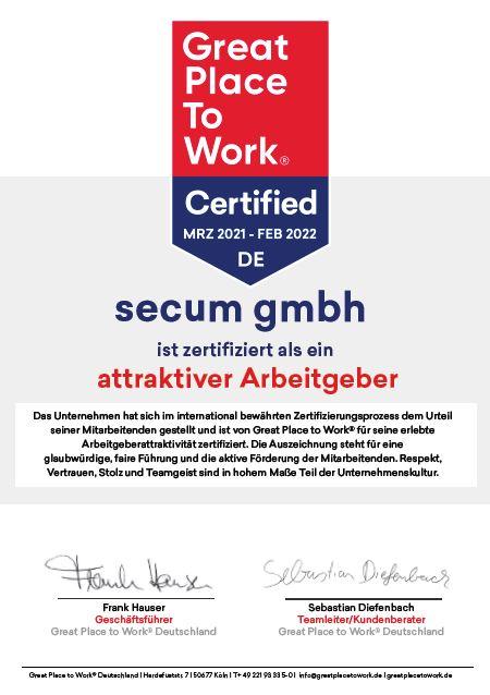secum Zertifikat